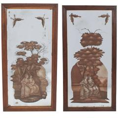 Pair of Reverse-Painted Panels