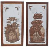 Pair of Reverse-Painted Panels