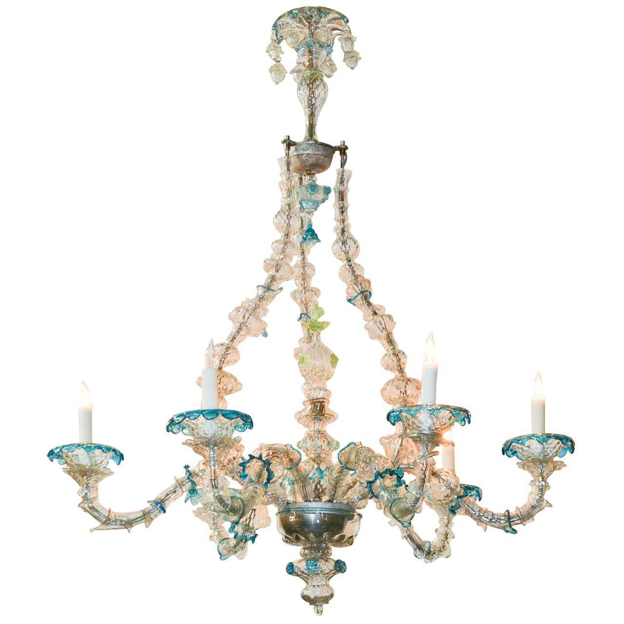 Rare and Unusual Venetian Glass Chandelier