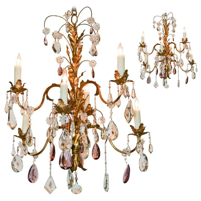 Excellent Pair of Tole and Crystal Chandeliers