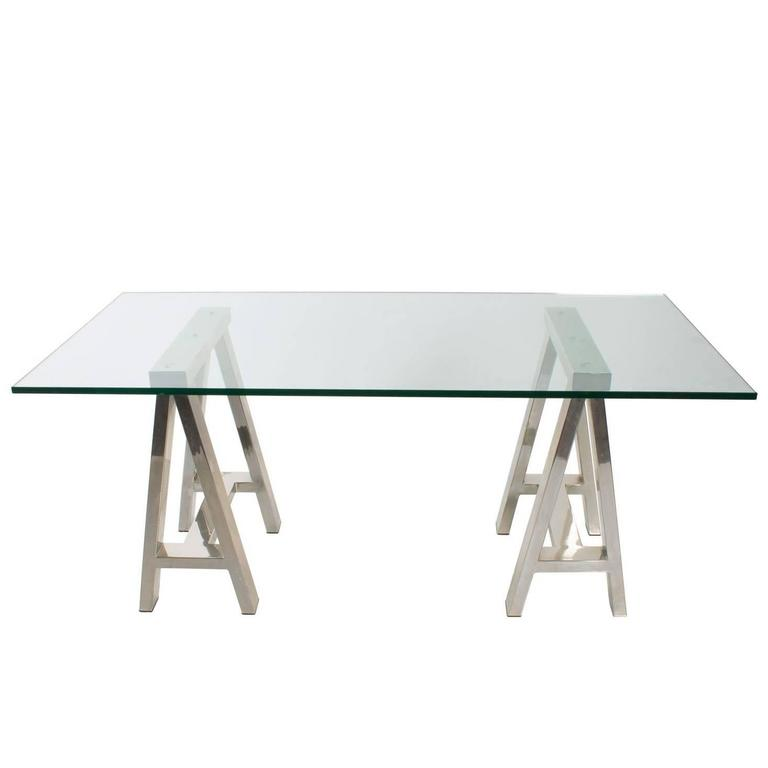 Chrome and Glass Writing Table