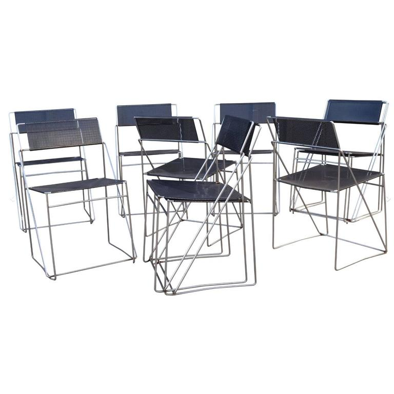 Set of Ten Metal Dining Chairs For Sale