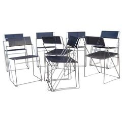 Set of Ten Metal Dining Chairs