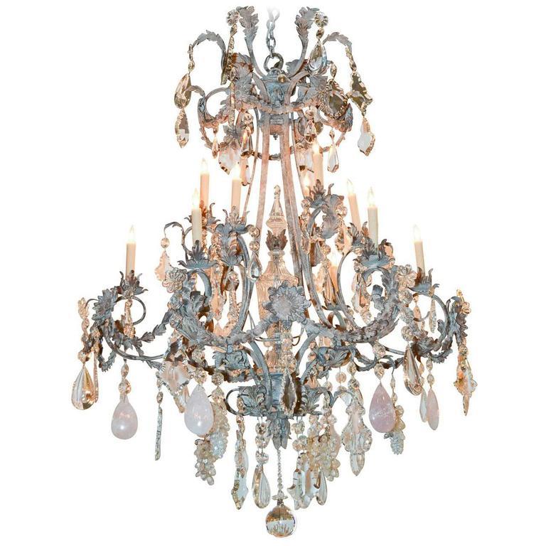 Impressive Custom Rose Quartz And Crystal Chandelier For Sale At Stdibs - Quartz chandelier crystals