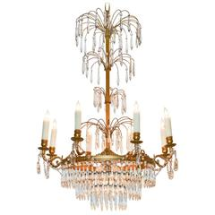 French Neoclassical Crystal and Bronze Chandelier