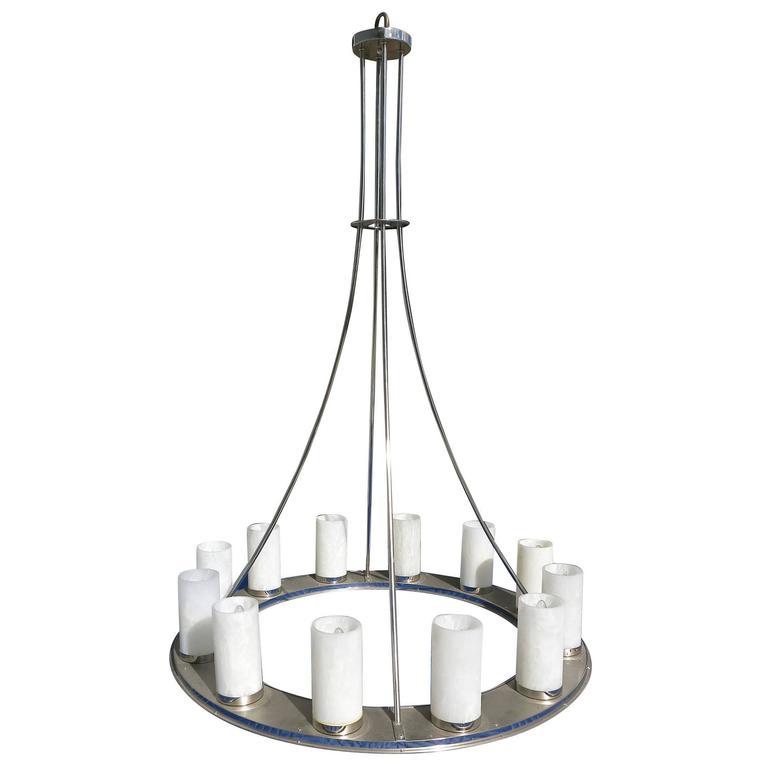 Large Modernist Twelve-Light Nickel Finished Chandelier