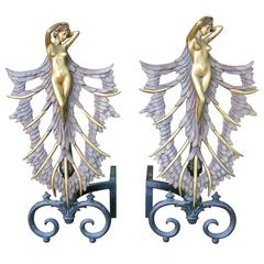 French Art Deco Style Nude Figural Female Andirons Firedogs