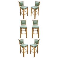 Restored Rattan Bar Stool with Vinyl Seat Backs, Set of Six