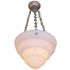 High Style Modern Alabaster Chandelier with Stepped Shade