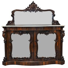 Antique Rosewood Marble-Top Mirrored Server