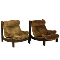 Mid-Century Modern Lounge Chair in Suede