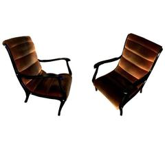 Pair of Ezio Longhi Lounge Chairs, circa 1960s, Completely Restored