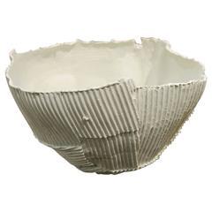White Corrugated Ceramic Bowl, Italy, Contemporary