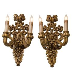 Pair of Carved Classical Revival Candle Sconces, circa 1910s