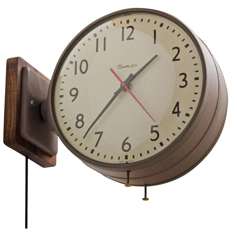 Double Sided Simplex Clock In Brown With Walnut Backplate