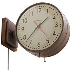 Double Sided Simplex Clock in Brown with Walnut Backplate, circa 1960s