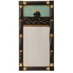 Captain's Mirror with Reverse Painted Scene, circa 1820s