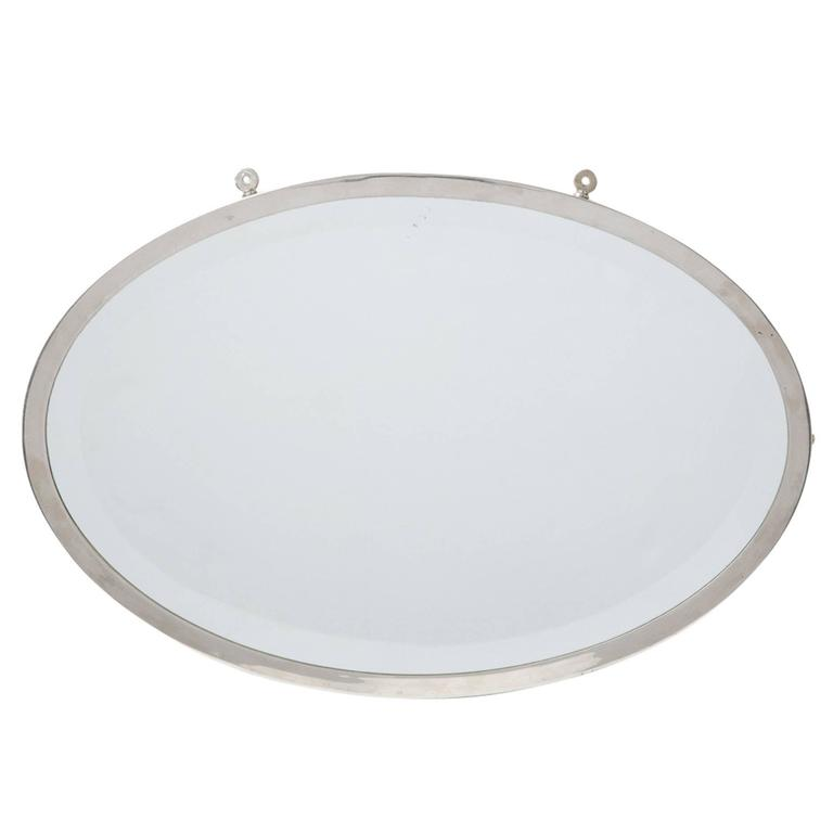 Nickel-Plated Oval Mirror with Beveled Edge, circa 1910s
