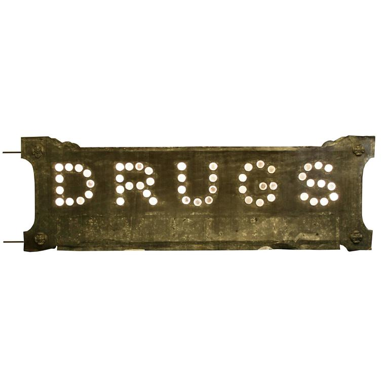 """Double-Sided Glass Cat's Eye """"DRUGS"""" Sign, circa 1900"""