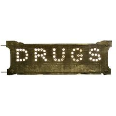 "Double-Sided Glass Cat's Eye ""DRUGS"" Sign, circa 1900"