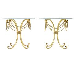 Pair of 1960s Gilt Glass Top Occasional Tables