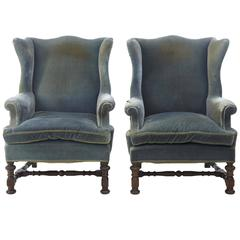 Pair of 19th century Oak Frame Wing Back Armchairs