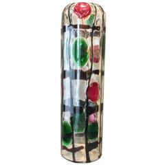 Formia Murano Venice Vintage Arlecchino Blown Glass Vase, 1980 Period