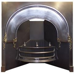 19th Century Victorian Burnished and Brass Cast Iron Arched Fireplace Insert