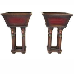 Pair of Hand-Painted Wood Pedestal Planters with Red Inset Panel