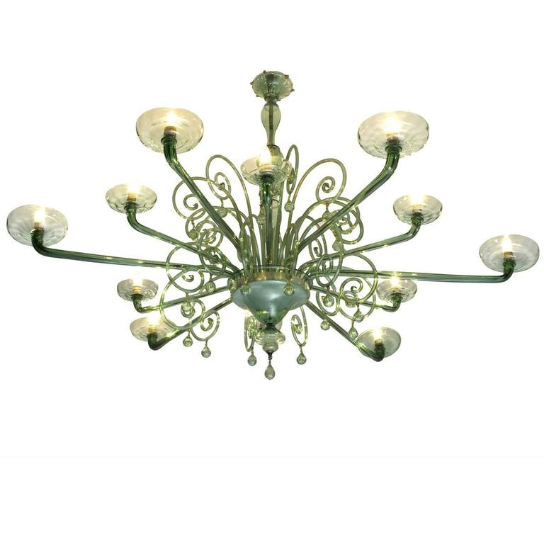 Large Venini with Murano Glass Chandelier, 1930s For Sale
