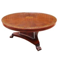 Large Regency Style Mahogany and Brass Inlaid Circular Dining Table