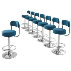 Johanson Cobra Set of Eight Bar Stools Newly Upholstered
