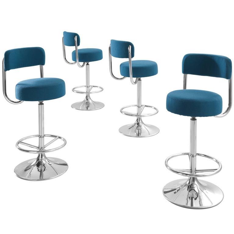 Johanson Cobra Set of Four Bar Stools Newly Upholstered