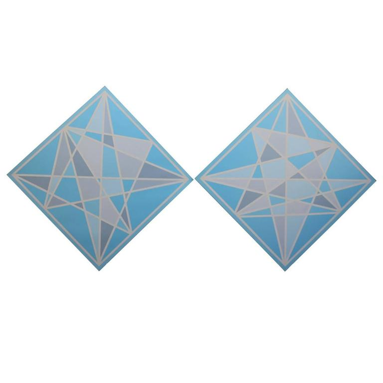 Pair of Hard Edge Geometric Abstract Paintings in Blue Grey and White For Sale