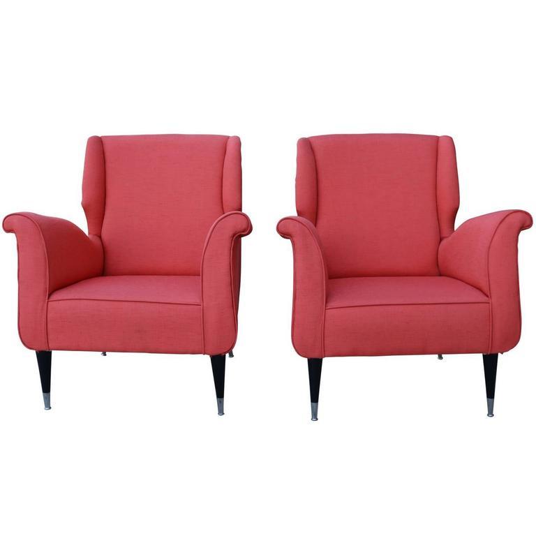 Pair Mid-Century Modern Salmon Orange-Pink Italian Armchairs 1