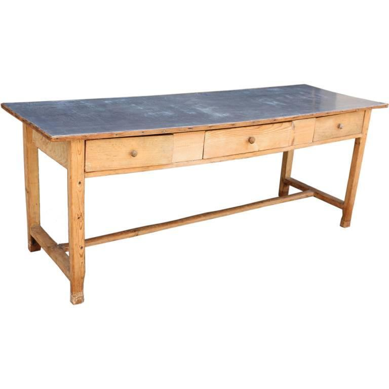 English Zinc Top Console Table Of Pine For