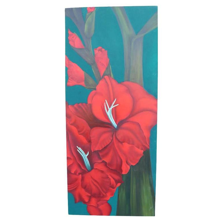 Modern Tropical Floral Painting of a Gladiola in Green and Orange 1