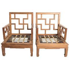 Chinese Teak Armchairs