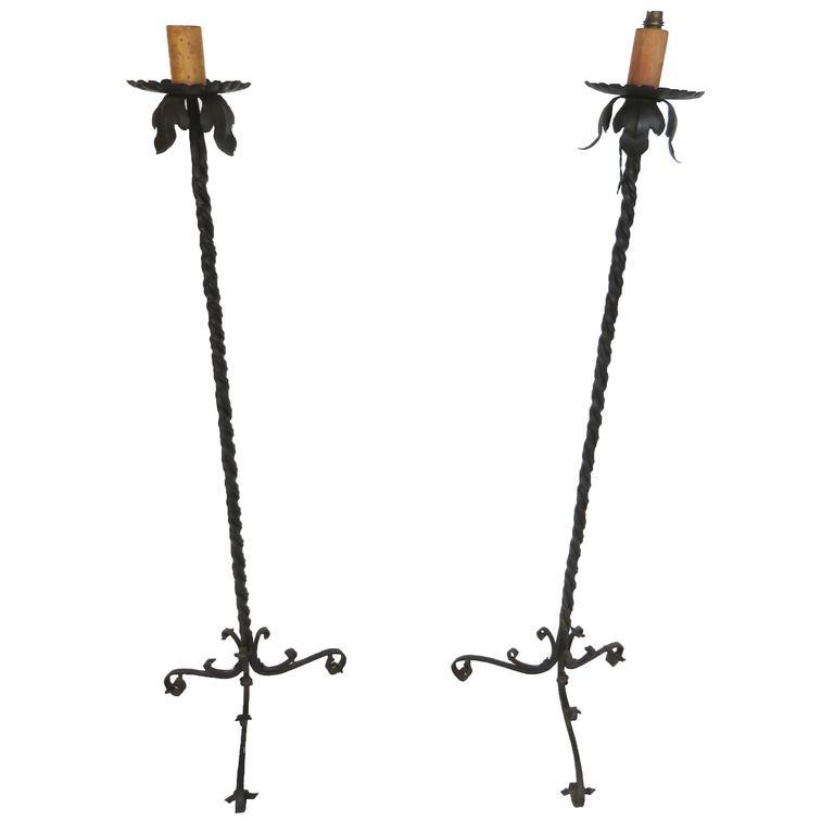 19th Century Pair of Renaissance Style Floor Iron Lamps
