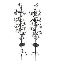 19th Century Pair of Large Brought Iron Candelabra