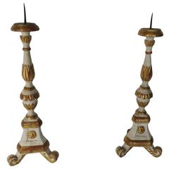 18th Century Pair of Polychromed Church Prickets or Candlesticks