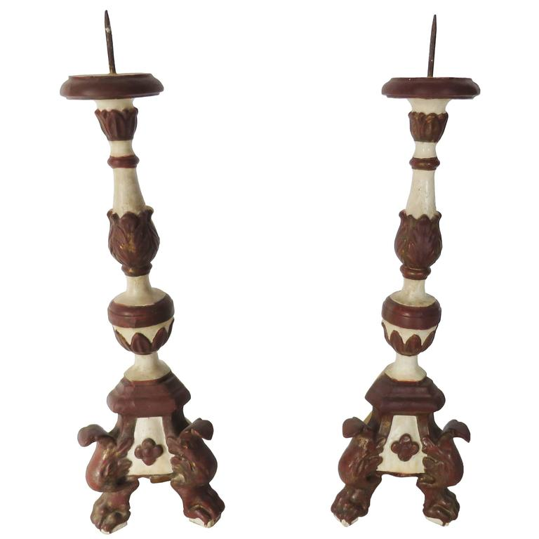 18th Century Pair of Painted Candlesticks For Sale