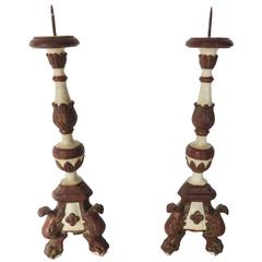 18th Century Pair of Painted Candlesticks