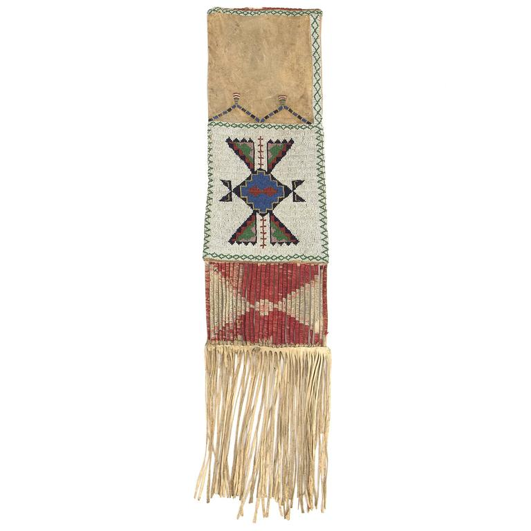 Antique Native American Beaded Hide Tobacco Bag Sioux