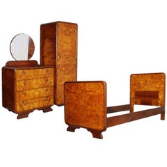 Art Decò Bedroom Set by Osvaldo Borsani Birch and Walnut Burl Period, 1930s