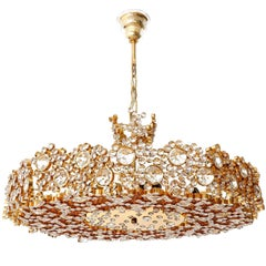 Palwa Chandelier or Pendant Light, Gilt Brass Crystal Glass, 1970