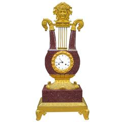 Very Fine Charles X Imperial Porphyry Lyre Clock
