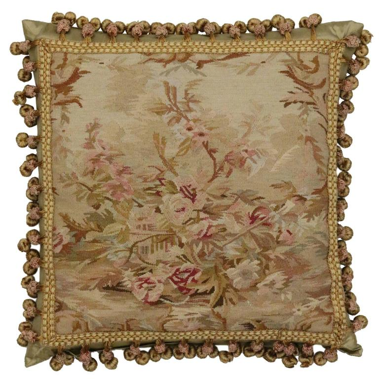 European Aubusson Pillow With Antique French Provincial