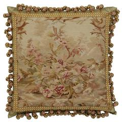 European Aubusson Pillow with Antique French Provincial Style