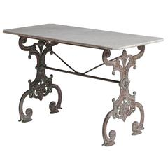 French Cast Iron Garden Table with Marble Top, circa 1880